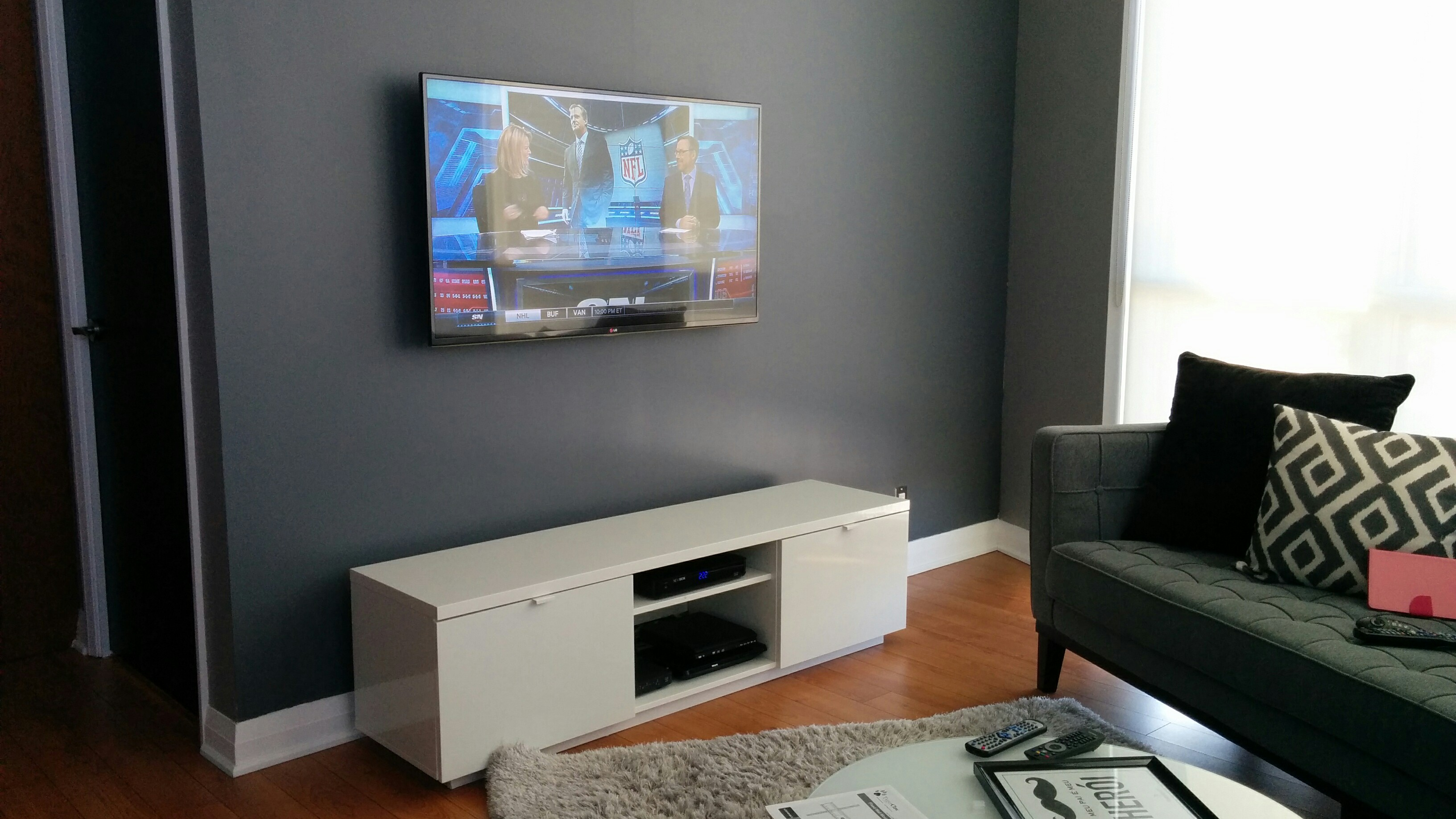 we will be offering a solution to source, assemble and perform the  installation of your wall mounted tv and media shelve under the tv to make  your loving