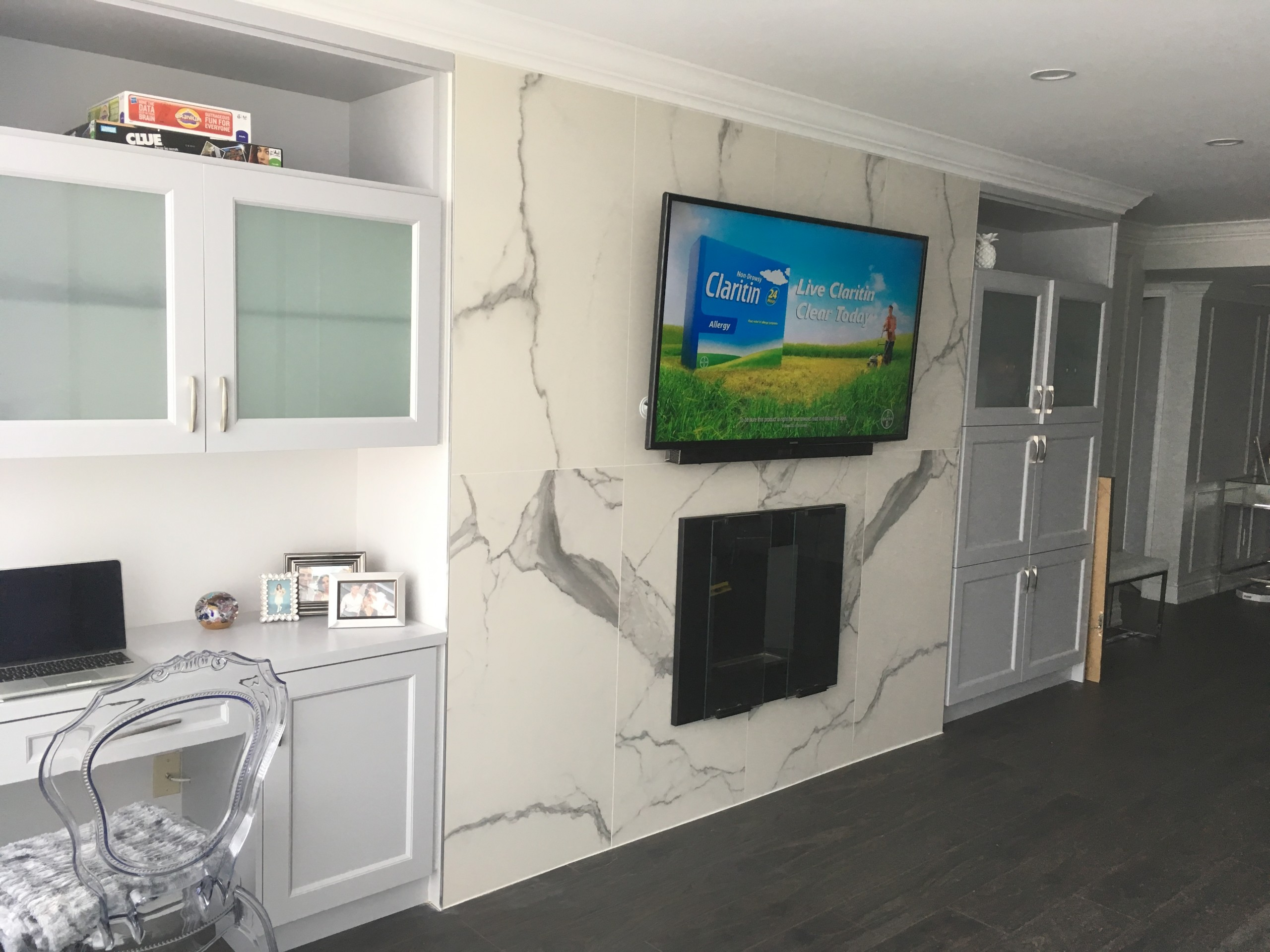 How To Mount A Tv Above A Fireplace On A Marble Wall Or With Ceramic Tiles Leslievillegeek Tv Installation Home Theatre Cabling Wiring