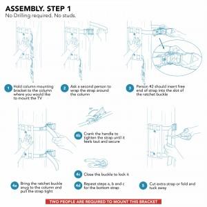 Column wrap tv mounting bracket installation guide for Condomounts bracket