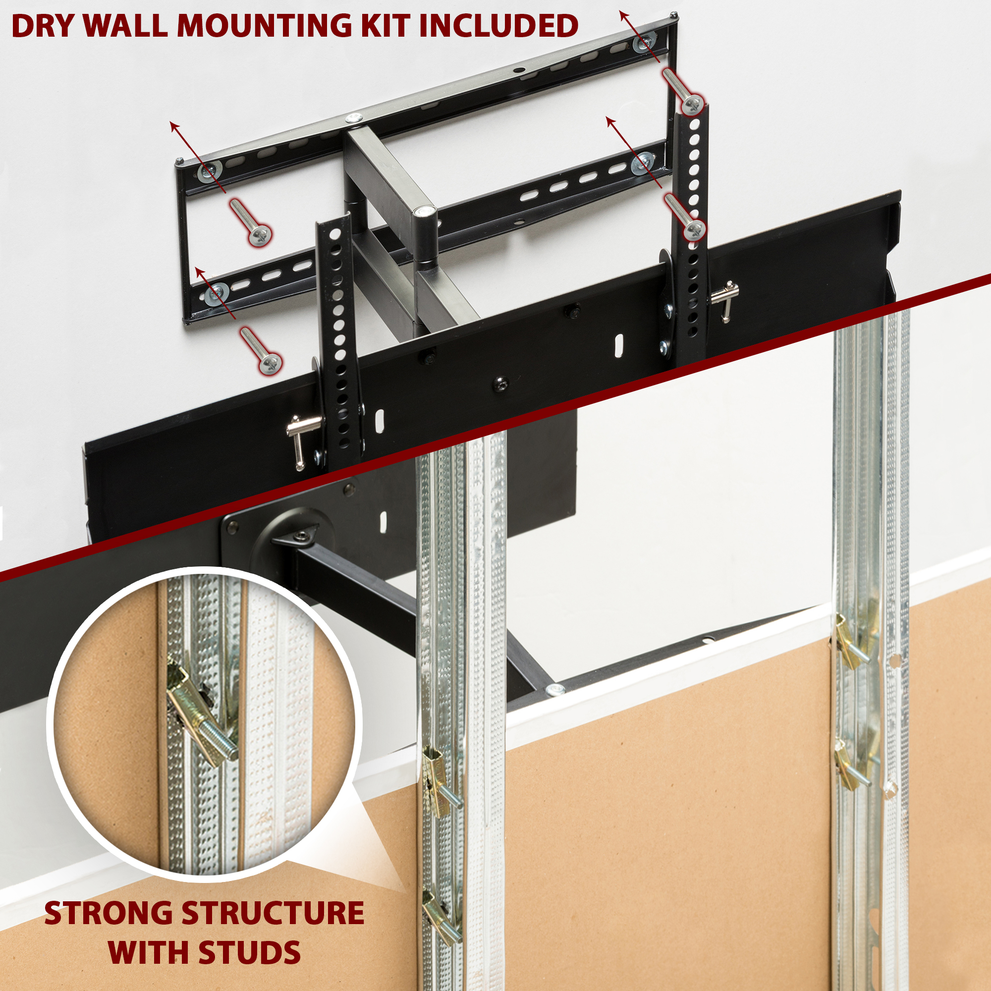 Metal Stud Full Motion Tv Wall Mount For 32 To 65 Inch Tv