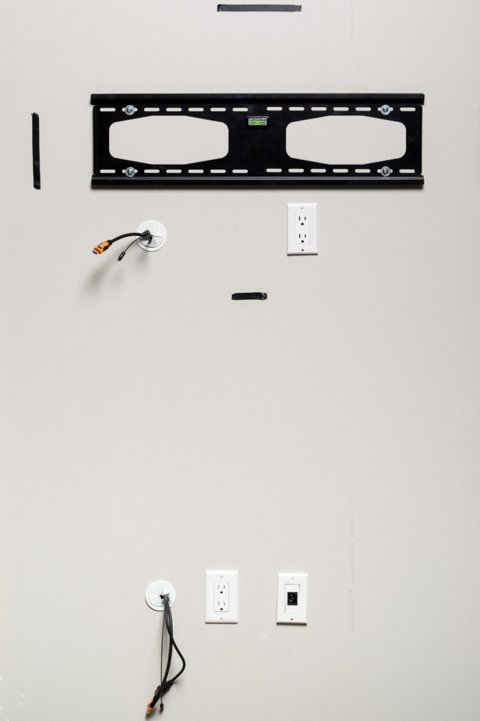 In wall cable management grommet for hiding wires behind - Tv mount wall plate ...