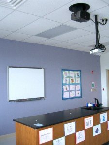 Ceiling mounting of projectors in office.