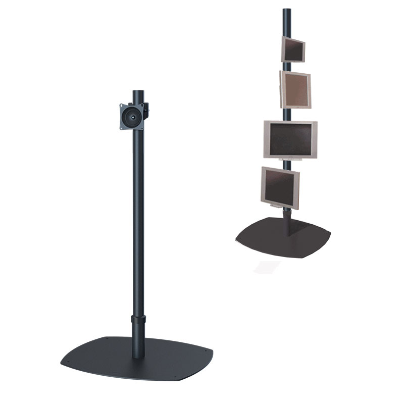 Premier Mounts PSP-60B Single 60 inch Black Pole Floor Stand for Small to Mid Size Screens