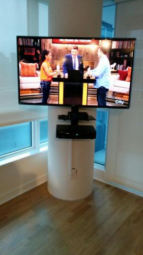 TV Wall Mounting on Concrete Pillar. circular pillar column mount